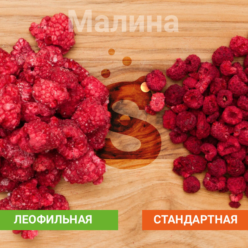 Freeze-dried raspberries - compared to standard drying method